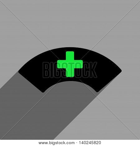 Medical Visor long shadow vector icon. Style is a flat medical visor black iconic symbol on a gray square background with longshadow.