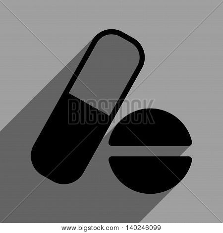 Medication long shadow vector icon. Style is a flat medication black iconic symbol on a gray square background with longshadow.