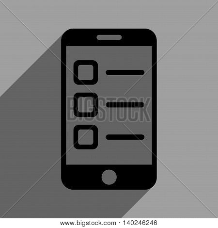 Mobile List long shadow vector icon. Style is a flat mobile list black iconic symbol on a gray square background with longshadow.