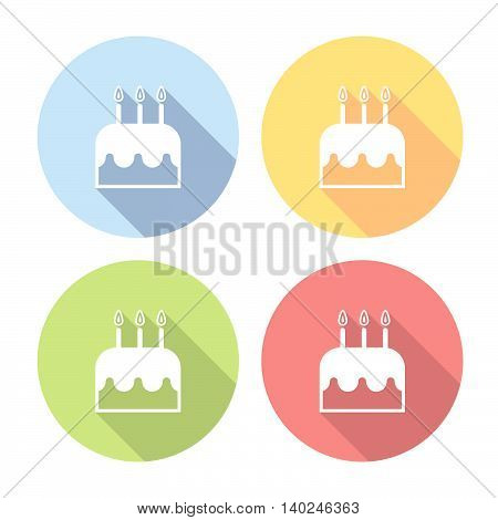 Birthday Cake With Candles Flat Icons Set