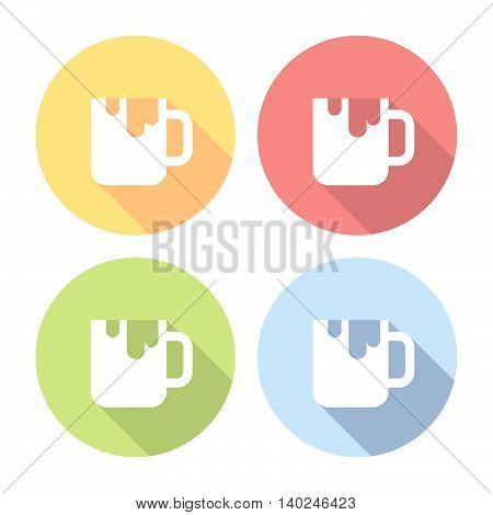 Cup Of Sweet Drink Flat Icons Set