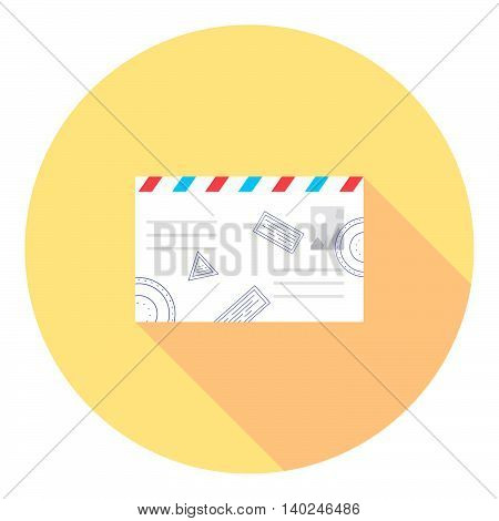 Letter Envelope With Stamps Flat Icon