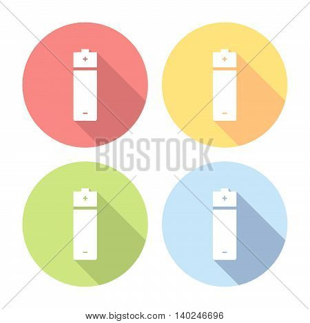 Battery Power Cell Flat Icons Set