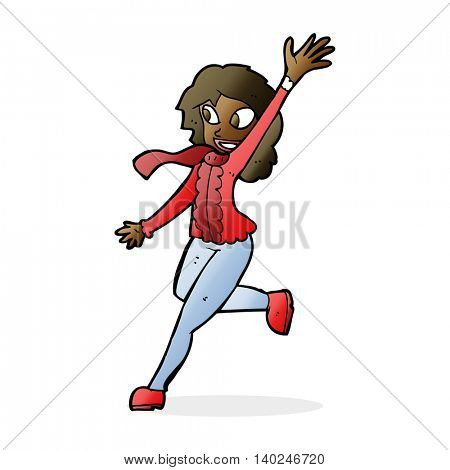 cartoon woman waving dressed for winter