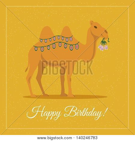 Camel with flowers. Happy birthday greeting card. Vector illustration flat design