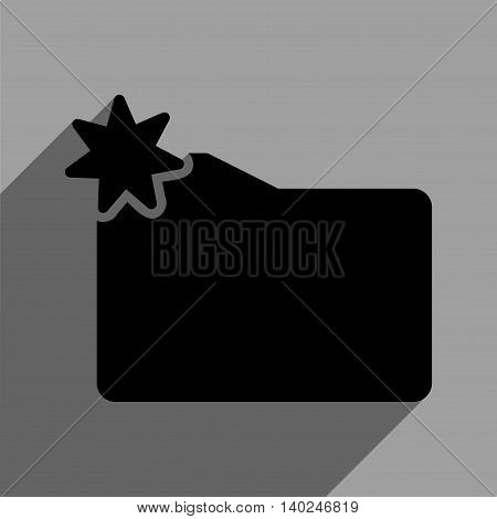 New Folder long shadow vector icon. Style is a flat new folder black iconic symbol on a gray square background with longshadow.