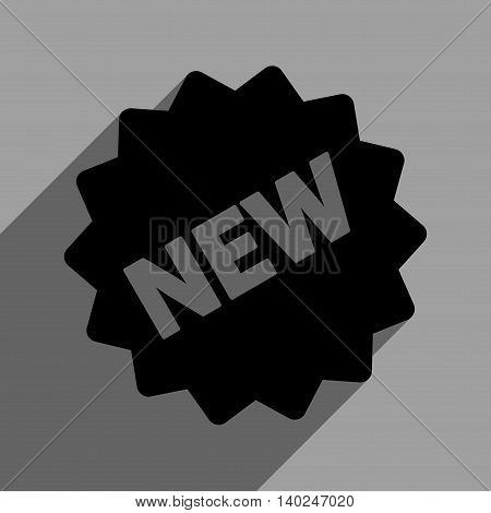 New Tag long shadow vector icon. Style is a flat new tag black iconic symbol on a gray square background with longshadow.