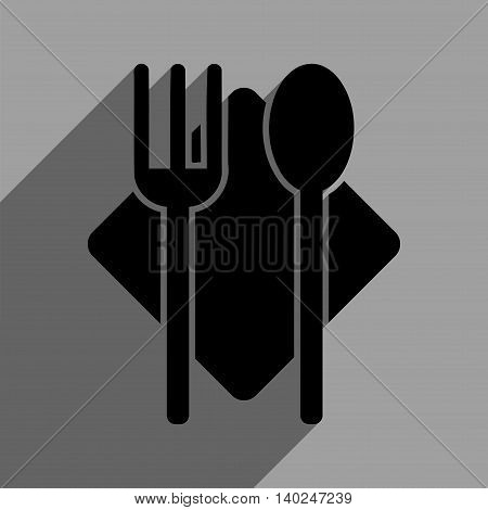 Nutrition long shadow vector icon. Style is a flat nutrition black iconic symbol on a gray square background with longshadow.
