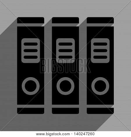 Office Books long shadow vector icon. Style is a flat office books black iconic symbol on a gray square background with longshadow.