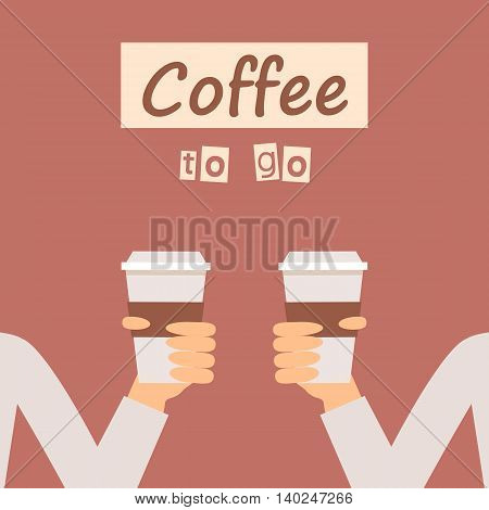 Hands holding a cup of coffee. Vector illustration flat design