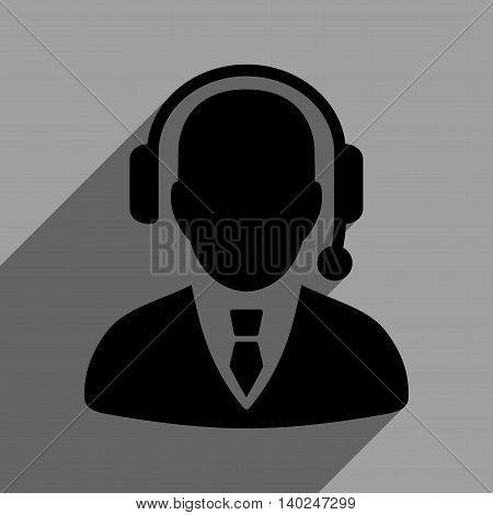Operator long shadow vector icon. Style is a flat operator black iconic symbol on a gray square background with longshadow.