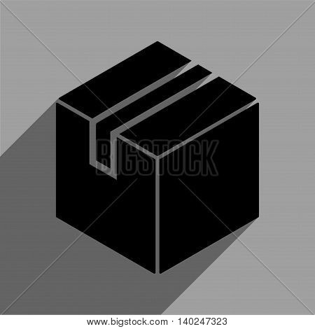 Package long shadow vector icon. Style is a flat package black iconic symbol on a gray square background with longshadow.