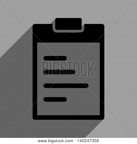 Pad Text long shadow vector icon. Style is a flat pad text black iconic symbol on a gray square background with longshadow.