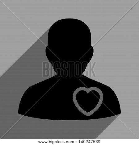 Patient Heart long shadow vector icon. Style is a flat patient heart black iconic symbol on a gray square background with longshadow.