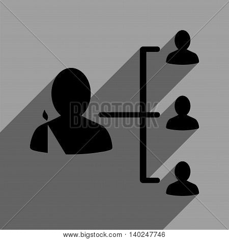 Patient Relations long shadow vector icon. Style is a flat patient relations black iconic symbol on a gray square background with longshadow.