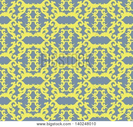 Vintage Acanthus leaves pattern ornament background. Abstract Floral neoclassic ornament pattern background. Vintage pattern in yellow color