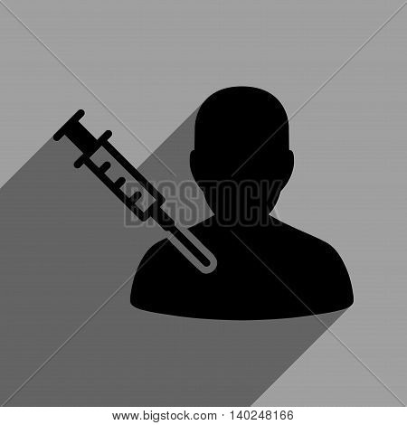 Patient Vaccination long shadow vector icon. Style is a flat patient vaccination black iconic symbol on a gray square background with longshadow.