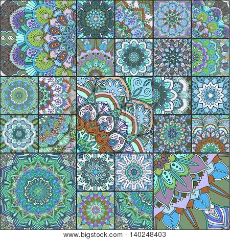 Boho tile set. Turquoise patchwork for fabric print, furniture, wallpaper, fashionable textile. Square design elements. Unusual flower ornament. Vector oriental green blue mandala background.