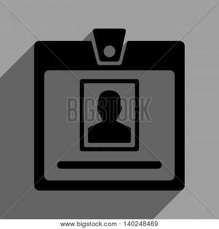 Person Badge long shadow vector icon. Style is a flat person badge black iconic symbol on a gray square background with longshadow.