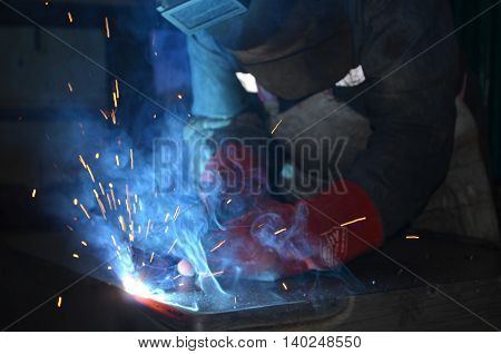 Smoke comes out when the welder while welding
