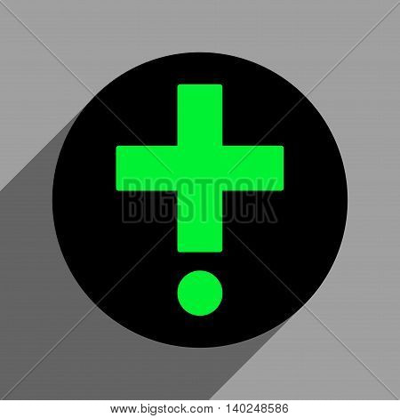 Pharmacy long shadow vector icon. Style is a flat pharmacy black iconic symbol on a gray square background with longshadow.