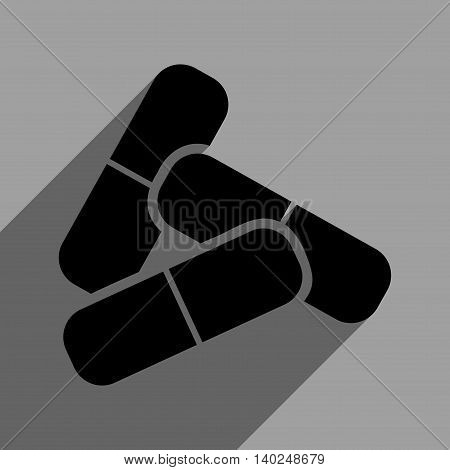 Pills long shadow vector icon. Style is a flat pills black iconic symbol on a gray square background with longshadow.