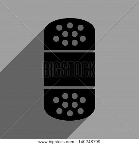Plaster long shadow vector icon. Style is a flat plaster black iconic symbol on a gray square background with longshadow.