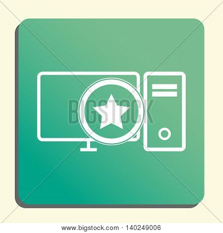 Pc Star Icon In Vector Format. Premium Quality Pc Star Symbol. Web Graphic Pc Star Sign On Green Lig