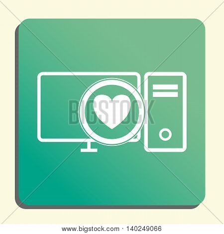 Pc Heart Icon In Vector Format. Premium Quality Pc Heart Symbol. Web Graphic Pc Heart Sign On Green