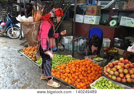 Asian Rural Market In Sapa, Vietnam