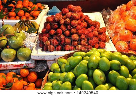 Exotic Tropical Fruits In The Market