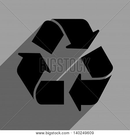 Recycle long shadow vector icon. Style is a flat recycle black iconic symbol on a gray square background with longshadow.