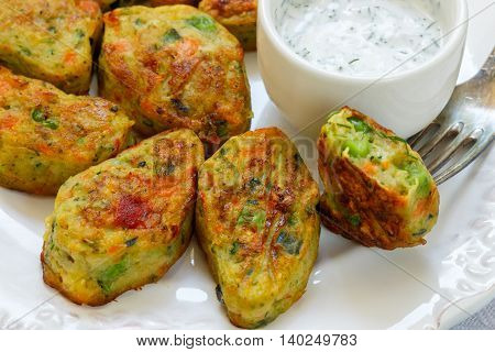 Healthy Vegetarian Potato Patties With Carrots, Broccoli, Bell Pepper, Green Peas And Onions With So