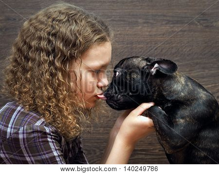 Great kiss a girl and a dog