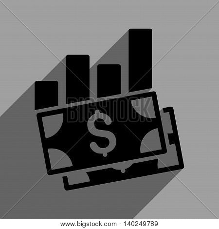Sales Bar Chart long shadow vector icon. Style is a flat sales bar chart black iconic symbol on a gray square background with longshadow.