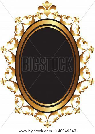 Golden Baroque Mirror frame decor. Vector French Luxury gold rich carved ornaments and Wall Frames. Victorian Royal Style frame