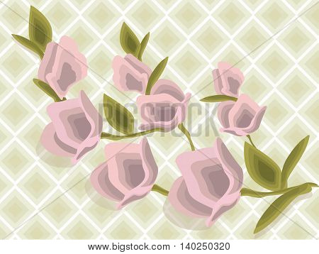 Pink flower bouquet pattern Vector illustration Spring Summer background. Geometric Diamond Watercolor technique floral decor