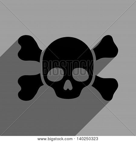 Skull and Bones long shadow vector icon. Style is a flat skull and bones black iconic symbol on a gray square background with longshadow.