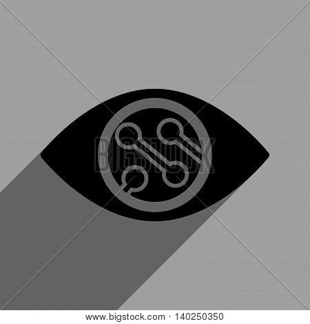 Smart Lens long shadow vector icon. Style is a flat smart lens black iconic symbol on a gray square background with longshadow.