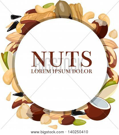 Healthy food vector concept with different nuts. Round banner with nuts and illustration raw seed and cashew nut