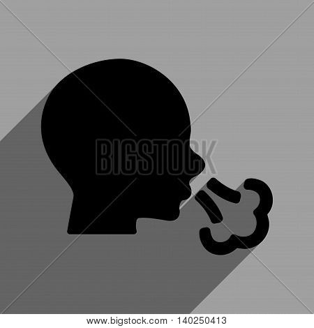 Sneezing Head long shadow vector icon. Style is a flat sneezing head black iconic symbol on a gray square background with longshadow.