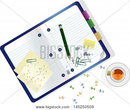 Papers Notebook Pen Office Clips and Cup of Tea Vector Illustration. Flat top view Office table