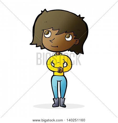 cartoon friendly woman