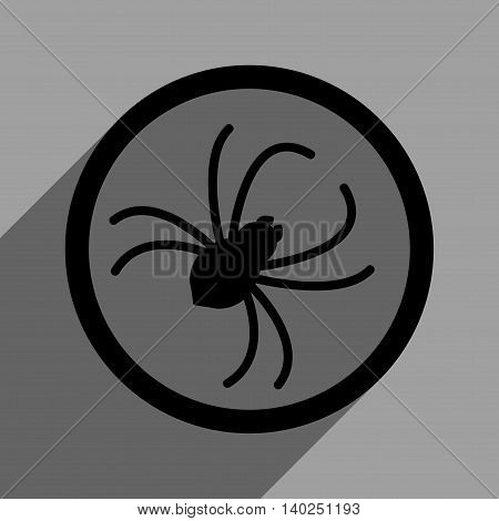 Spider long shadow vector icon. Style is a flat spider black iconic symbol on a gray square background with longshadow.