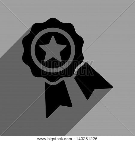 Star Quality Seal long shadow vector icon. Style is a flat star quality seal black iconic symbol on a gray square background with longshadow.