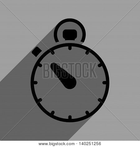 Stopwatch long shadow vector icon. Style is a flat stopwatch black iconic symbol on a gray square background with longshadow.