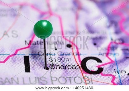Charcas pinned on a map of Mexico