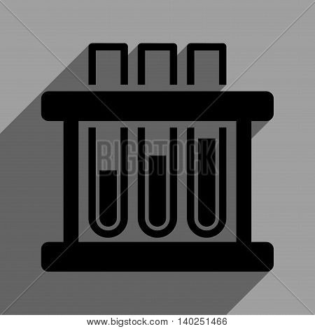 Test Tubes long shadow vector icon. Style is a flat test tubes black iconic symbol on a gray square background with longshadow.