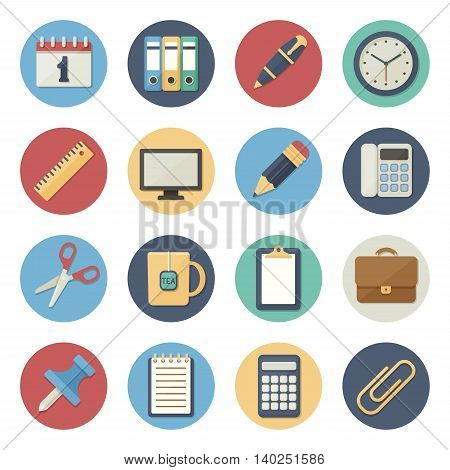 Vector illustration. Flat icon set. Office supplies in simple design. Icon size 256