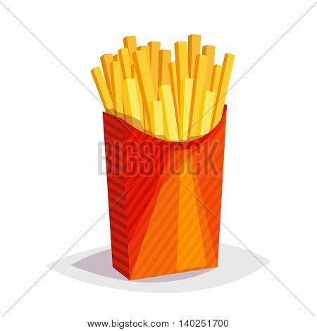 Colorful cartoon fast food icon on white background. French fries. Isolated vector illustration. Eps 10.